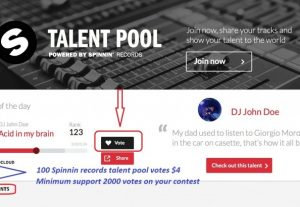 Give  you 100  Spinnin records talent pool votes on your contest