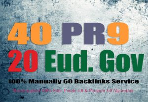 create 40 PR7-9 High Authority Backlinks + 20 .EDU/.GOV Free