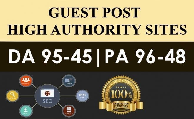Publish 5X High Authority Guest Posts On DA 60+, High Quality
