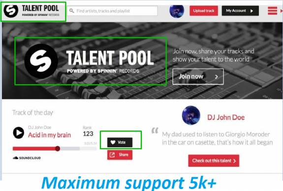 Give you 500 Spinnin records talent pool votes on your contest