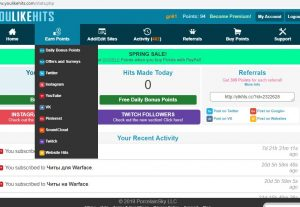 Give you new or refill YouLikeHits account with over 10,000 Points