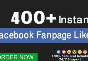 I will instant 400 Facebook Fanpage Likes Real and Non Drop
