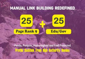 25 PR9 + 25 EDU/GOV High Authority Backlinks for Google SEO Rank