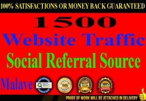 I will Provide 1500 Referral Source Website Traffic