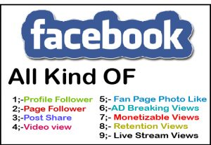 Get facebook post share/post like/follower/video view any service for 5$