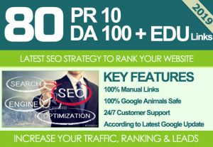 I Will MANUALLY Do 80 UNIQUE PR10 SEO BackIinks on DA100 sites Plus Edu Links for $10