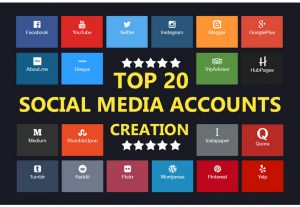 Create 20 social media account