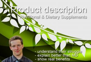 I will write product descriptions about dietary supplements