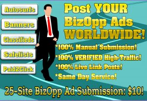 Business Opportunity Ads Submitted to 25 Sites