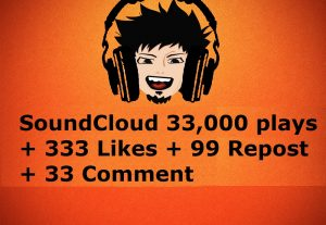 SoundCloud 33,000 plays + 333 Likes + 99 Repost + 33 Comments for $3