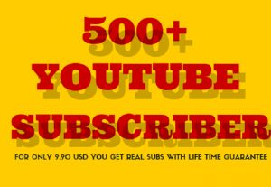 GET 500+ REAL YOUTUBE SUBSCRIBERS WITH LIFETIME GUARANTEE | YouTube's algorithm and YouTube users grasp your channel as much more engaging and popular.
