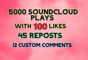 5000 SOUNDCLOUD  PLAYS 100 LIKES 45 REPOSTS AND 12CUSTOM COMMENTS
