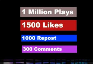 Buy 1,000,000 Soundcloud Play,1500 Likes,1000 Repost,300 Comments