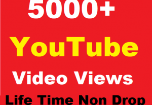 5000+ YouTube Video Views Promotion Life time Non Drop