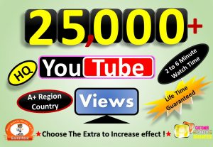 Instant Start 25,000 to 26,000 YouTube VIdeo Views From A+ Country, HQ Retention, Non Drop Lifetime guarantee