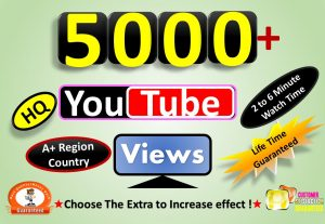 Instant Start 5000 to 6000 YouTube VIdeo Views From A+ Country, HQ Retention, Non Drop Lifetime guarantee