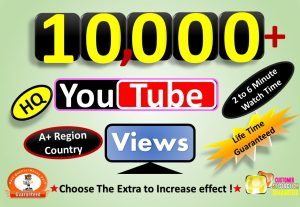 Instant Start 10,000+ YouTube Video Views & 100 Likes From A+ Country, HQ Retention, Non Drop / Refill Guarantee incase Drop.