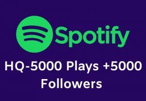 High Quality Spotify 5000 Plays+5000 Followers
