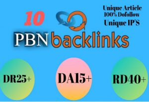 I will provide 10 high da,pa contextual dofollow pbn backlinks