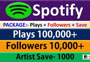 Package – 100,000 Plays + 10,000 Followers + 1000 Artist Save From USA HQ Accounts, Real and Active Users Guaranteed.