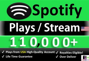 Get 110,000+ ORGANIC Plays From USA HQ Accounts &  Real and Active Users, Stable Guaranteed.