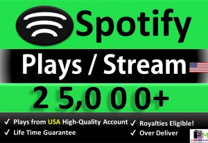 Get 25,000+ ORGANIC Plays From HQ USA Accounts, Real and Active Users, Stable Guaranteed.