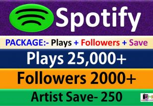 Package – 25,000 Plays + 2000 Followers + 250 Artist Save From USA HQ Accounts, Real and Active Users Guaranteed.