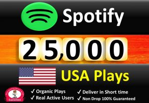 Get ORGANIC 25,000 – 30,000 Spotify Plays From USA ,Real and Active Users , Permanent Guaranteed