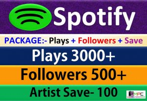 Package – 3000 Plays + 500 Followers + 100 Artist Save From USA HQ Accounts, Real and Active Users Guaranteed.