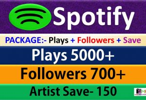 Package – 5000 Plays + 700 Followers + 150 Artist Save From USA HQ Accounts, Real and Active Users Guaranteed.
