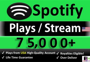 Get 75,000+ ORGANIC Plays From HQ USA Accounts, Real and Active Users, Stable Guaranteed.