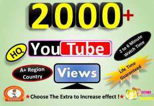 Instant Start 2000 to 2500 YouTube VIdeo Views From A+ Country, HQ Retention, Non Drop Lifetime guarantee
