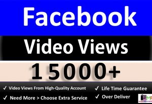 Instant Get 15,000 Facebook Video Views, Real & Active users, Non drop Guaranteed