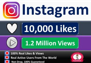 Get Instant 10,000+ Likes or  1.2 Million Video Views, Real & Active Users, Non Drop Guaranteed