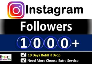 Get Instant 1000+ Instagram Followers, Real Active users, 10 Days Refill if Drop Guarantee