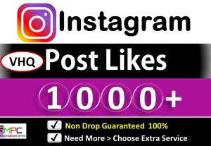 Get Instant 1000+ Instagram Very HQ Likes  for Picture and Video, Real and Active Followers, Non Drop Guarantee.