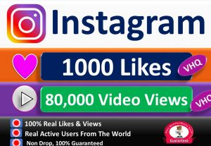 Instant 1000+ Instagram  Very HQ Likes or 80,000+ Very HQ Videos Views+Impresion+Reach in 1 to 6 Hours, Real & Active Users, Guaranteed