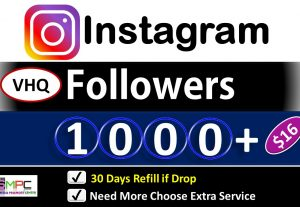 Get Instant 1000+ Instagram VHQ Followers, Real Active Followers, 30 Days Refill if Drop Guarantee.