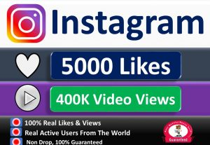 Get Instant 5000+ Likes or 400K Video Views, Real & Active Users, Non Drop Guaranteed