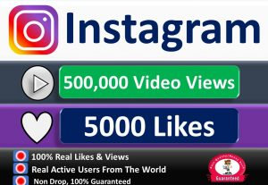 Get Instant 500,000+ Instagram Video views + Impereation or 5k Likes in 1 to 2 Days, Real & Active Users, Non Drop Guaranteed