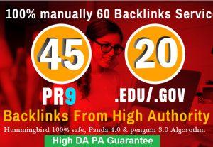 40 PR9 + 20 EDU GOV Backlinks From High DA Authority Domain site