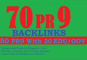 I will create 70 backlinks 50 PR9+20 EDU/GOV Manual & Safe SEO For Boost Your Google Ranking