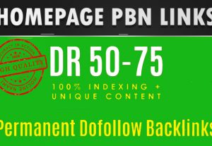Get DR 50 to 75 PBN homepage backlinks. High quality