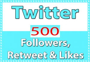 Twitter 50+ Followers, 150+ Retweet & 300 Likes only for $ 4