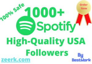 I will Add 1000+ Spotify Followers NonDrop (USA) Guaranteed Delivery Spotify Artist Link Only