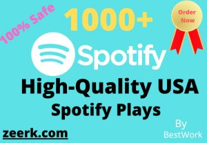 Get 1000+ Spotify Plays USA Non-Drop Guaranteed Permanent start in 12-24 Hours