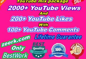 I will Provide 2000+ NonDrop YouTube Views And 200+ YouTube Likes with 100+ YouTube Comments Lifetime Guaranteed