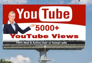 I will Give you 5000+ YouTube views 100% Real Active User & Non Drop