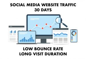 SOCIAL MEDIA Website Traffic with Low Bounce Rate and Long Visit Duration for 1 month
