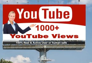 I will Give you 1000+ YouTube views 100% Real Active User & Non Drop
